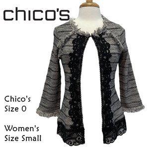 CHICO's Black White Tweed Fringe Lace Jacket Size0